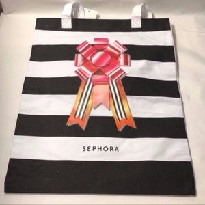New Sephora Striped Tote Bag with Bow